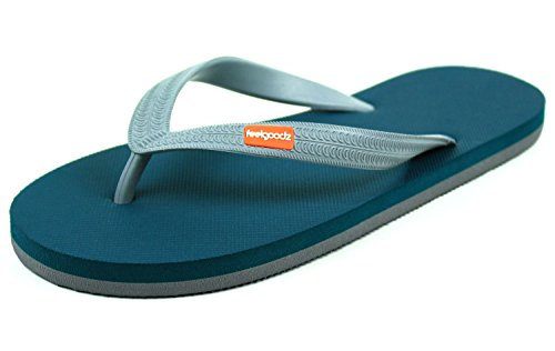 Feelgoodz Men's Classicz Natural Rubber Flip Flops - Incredibly Comfortable and Highly Durable Premium Natural Rubber Sole and Strap - Environmentally Friendly Dyes and Materials (13, Cascade)