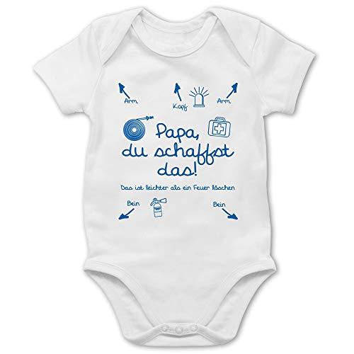 Strampler Motive - Papa du schaffst das Feuerwehr Junge - 1/3 Monate - Weiß - Strampler Papa du schaffst das - BZ10 - Baby Body Kurzarm für Jungen und Mädchen
