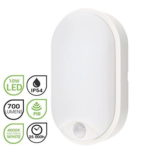 M EGA MEGACUBE Außenbeleuchtung von Wänden 10W LED Aussenleuchte, 4000K, 700lm, IP54-geschützt Wasserdicht, Wandlampe mit Bewegungsmelder, 10 m Reichweite, Weiß