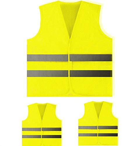 Shalwinn Warnweste 3 Stück Unfallweste Pkw Sicherheitsweste Weste Neongelb reflektierend Auto, Waschbar