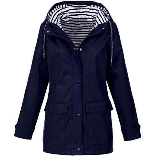 LONUPAZZ Manteau ImperméAble à Capuche Femme Grande Taille Uni Manteau Sport Jacket Veste Coupe-Vent Sportwear