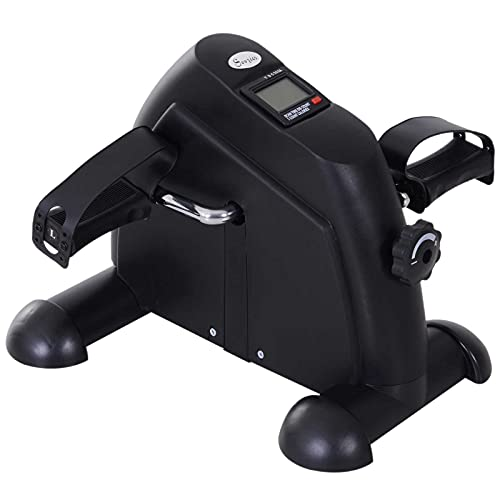 homcom Mini Cyclette Portatile per l'Allenamento di Gambe per Braccia con Display LCD TPR, PP, PP, Ruota in ghisa 35 x 40 x 31 cm Nero