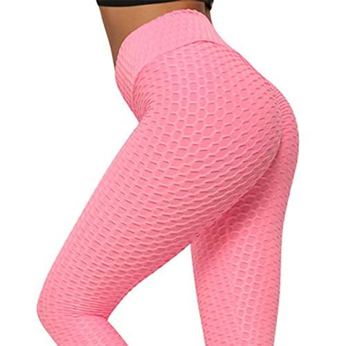 WJWX Sports Tights Bubble Booty Pantalones Pantalones Levantamiento Glúteos Mujer Sexy Cintura Alta Scrunch Push Up Leggings Stretch Gym Workout Yoga Pantalones