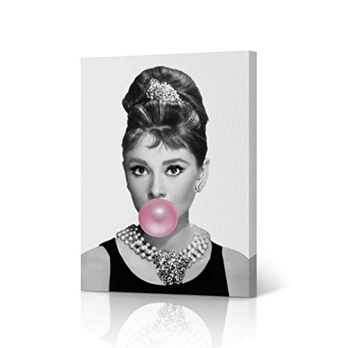 HB Art Design Pretty Audrey Hepburn Pink Bubble Gum Chewing Gum Black and White Portrait Iconic Pop Art Canvas Wall Art Print Office Living Room Dorm Bedroom Modern Home Decor Ready to Hang - 12x8