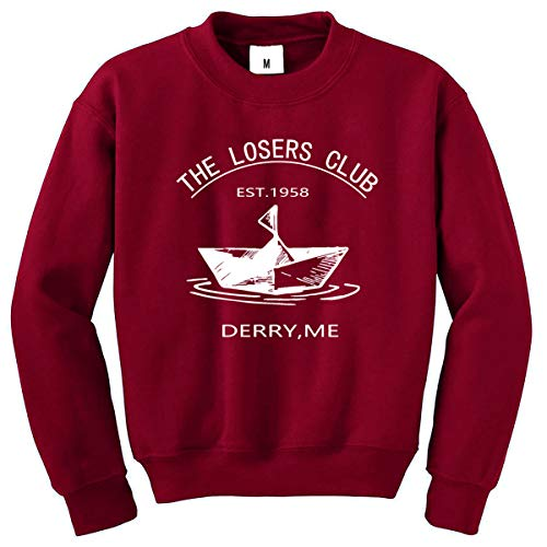 EAST KNITTING The Losers Club Cute Sweatshirts for Womens Girls Crewneck Long Sleeve Tops(Wine Red,XL)