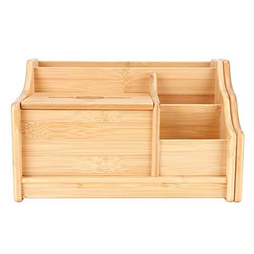 Buachois Organizador de Escritorio de Bambú Caja de Almacenamiento de Oficina Caja de PañUelos de Estantería Pequeña Retráctil Caja de Organización de Mesa para Oficina O Hogar