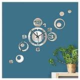 Wandaro Reloj de pared moderno con espejo I (ancho x alto) 46 x 40 cm I Reloj decorativo de diseño con mecanismo 3D adhesivo W3485