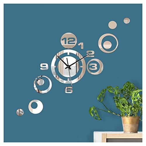 Wandaro Wanddeko Moderne Uhr mit Spiegel I (BxH) 46 x 40 cm I Design Dekouhr Uhrwerk 3D Aufkleber Selbstklebende Wanduhr Wandaufkleber Wandtattoo W3485