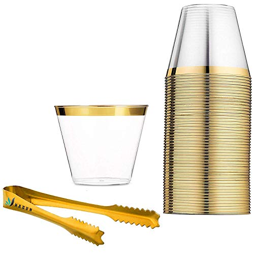 60 Gold Rimmed Plastic Cups 9 Oz Clear Plastic Cups Tumblers Gold Rimmed Cups Fancy Disposable Wedding Cups Elegant Party Cups with Gold Rim and gold ice tongs