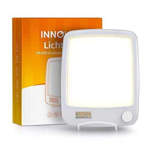 HBIAO Lichttherapielampe, traurige Phototherapielampe 10.000 Lux UV-freie LED-Therapielampe, zeitgesteuerte bionische Solarphysiotherapielampe