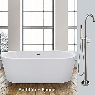 "WOODBRIDGE F-0001 59"" Acrylic Freestanding Bathtub Soaking Tub Brushed Nickel F0001, B-0012 with Faucet II"