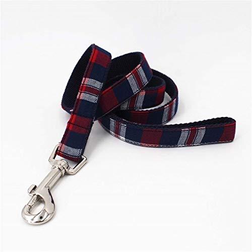 Geruite Halsband Kat Hondenhalsband Met Strik En Geruite Bandana-Sjaal Voor Honden Hondenriem, Alleen Riem, Lengte L (35,5,58 Cm)