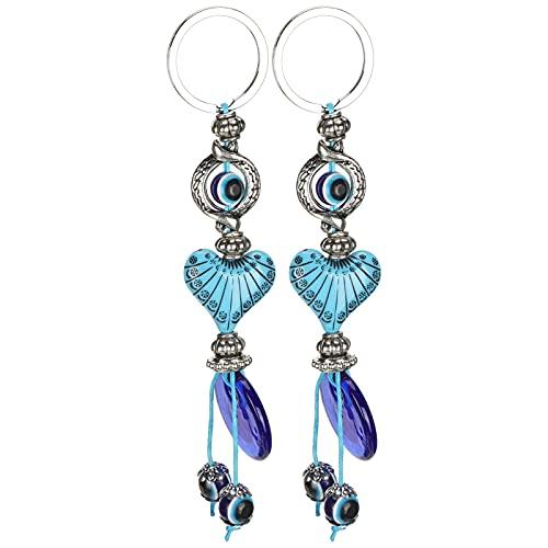 Tnfeeon 2 Piezas Lucky Evil Eye Charm Llavero Azul Turco Llavero Amuleto Colgante Cuentas Llavero joyería artesanía