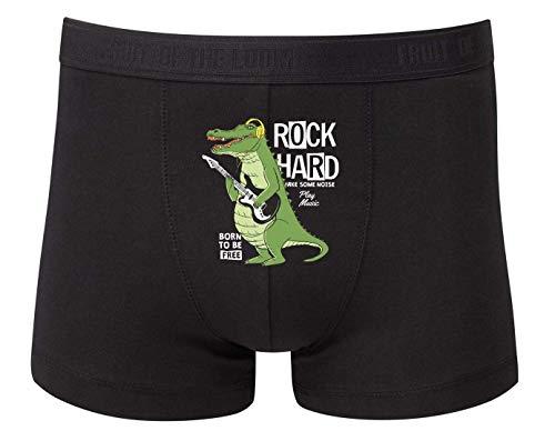 Druckerlebnis24 Boxershort - Krokodil Gitarre Rockstar Kopfhörer - Unterhose für Herren und Männer