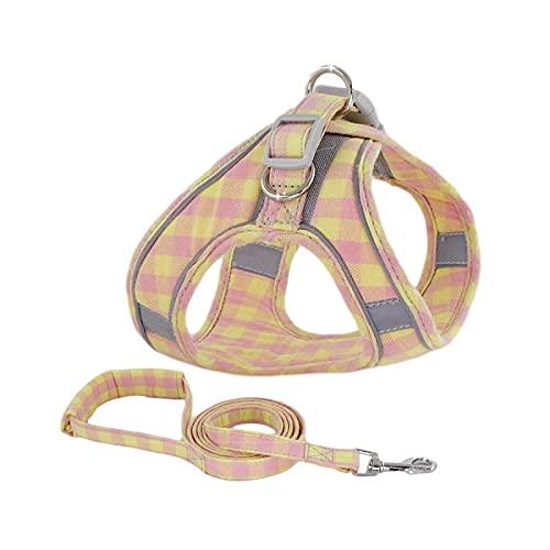 Arnés pequeño para perro, chaleco reflectante para perro, ajustable, pequeños perros, medianos, correa de petróleo, collar marcha, conjunto de correa York Carlin-Pink-Yellow-S