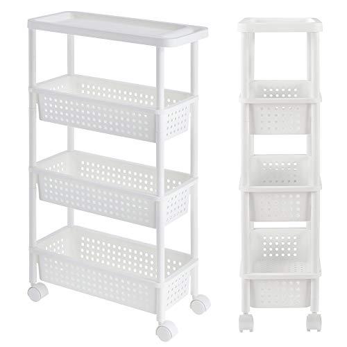 [en.casa] Rollregal - Weiß - 100 x 22 x 48 cm - Küchenregal Küchenwagen Rollwagen Nischenregal