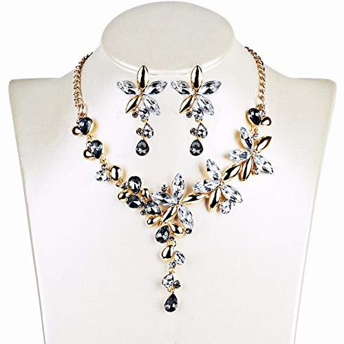 Thumby Frauen Metall Zinklegierung Pflanze Halskette Ohrringe Set Schöne Temperament Halskette Kristall Farbe Fünfblättrige Blume Ohrringe Halskette Mode Wild, Weiß