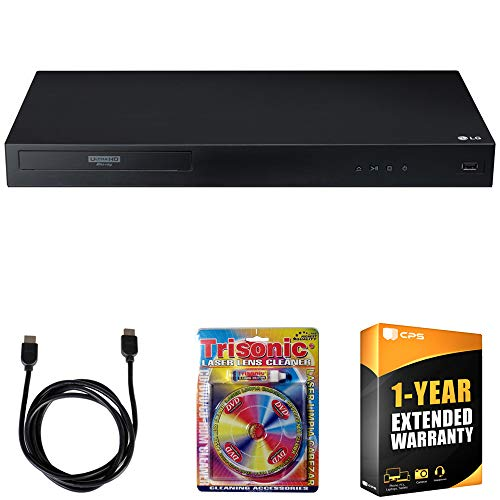 LG UBK80 4k Ultra-HD Blu-Ray Player w/ HDR Compatibility + 6ft High Speed HDMI Cable (Black) + Laser Lens Cleaner for DVD/CD Players + 1 Year Extended Warranty