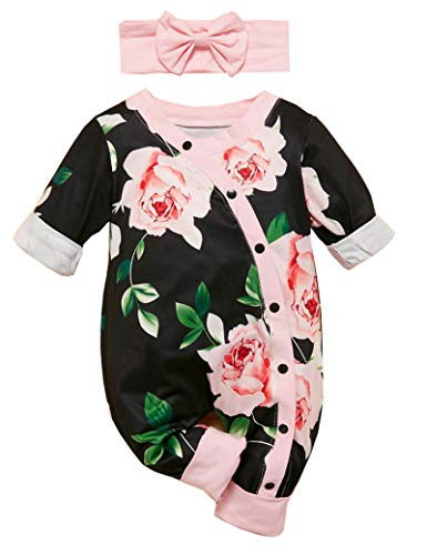 Newborn Baby Girl Clothes Floral Long Sleeve Footless Romper Jumpsuit Cotton Black