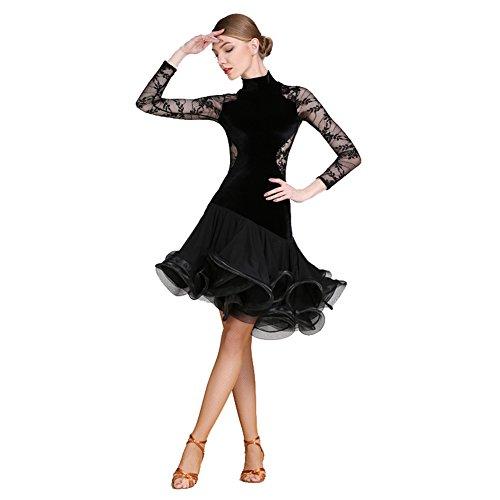 Q-JIU Latein-Tanz Kleider Damen Leistung Spitze Samt Farbaufsatz Gerafft Langarm Normal Kleid,Black,M