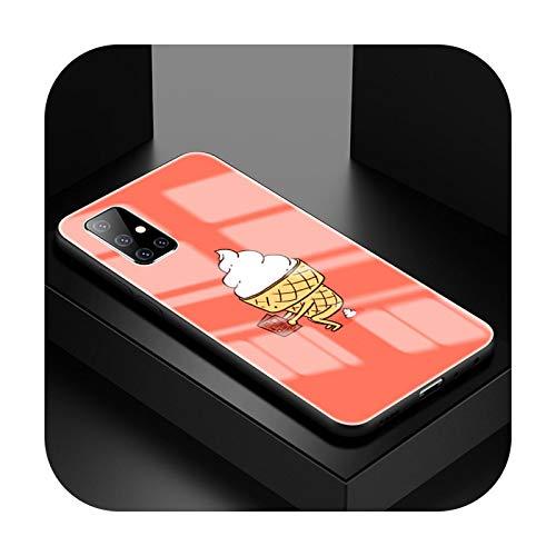 Carcasa de cristal templado para Samsung A51, A50, A71, 5G, A70, A81, A91, Fundas A40, A31, A21s, A10, Coque Shell-T01 para Samsung A81