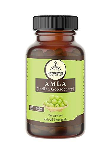 Naturevibe Botanicals Amlaki Capsules, 100% Organic Amla Berry Powder, 900mg Per Serving | 180 Veg Amla Capsules | Gluten Free …