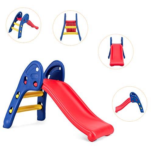 Costway Toboggan Pliant avec Forte Capacit de Charge, Toboggan Compact et Lger, Installation sans Outil, pour LIntrieur et LExtrieur, Idal pour Enfant de 3-8 Ans