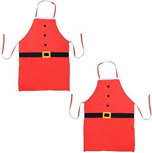 Christmas Apron, Holiday Kitchen Apron Christmas Santa Claus Decoration Apron for Christmas Dinner Party Cooking Baking Crafting House Cleaning Kitchen for Children