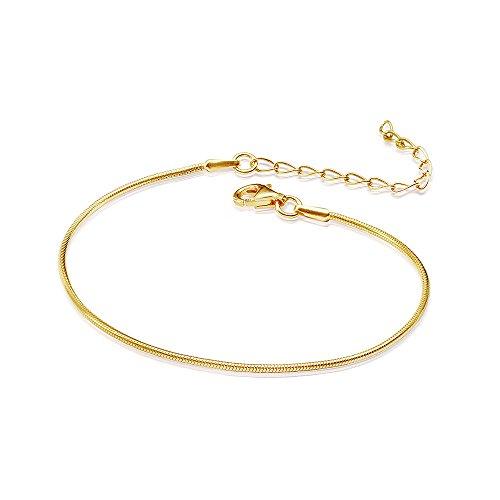 MATERIA–Bracciale da donna con catenina a serpente in argento 925 placcata in oro dello spessore di 1mm argento 925dorato 17–22cm regolabile # SA–62