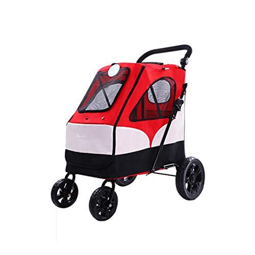 Jlxl Hundewagen Hundebuggy Haustier Pet Kinderwagen Mit Vier Rädern Hund Wagen Falten Groß Platz Lager 55 Kg Zum Outbound Benutzen (Farbe : Red)