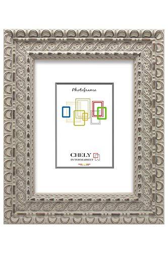 Chely Intermarket, Marco de Fotos 18x24cm (Beige) MOD-207 | Estilo galería | Marco de Madera Estilo Barroco Ideal para decoración | Fotografías de Boda | Moldura con Relieve