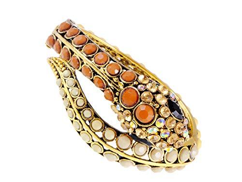 ALILANG Damen Golden Brown Elfenbein Perlen ägyptischen exotischen Schlange Armreif