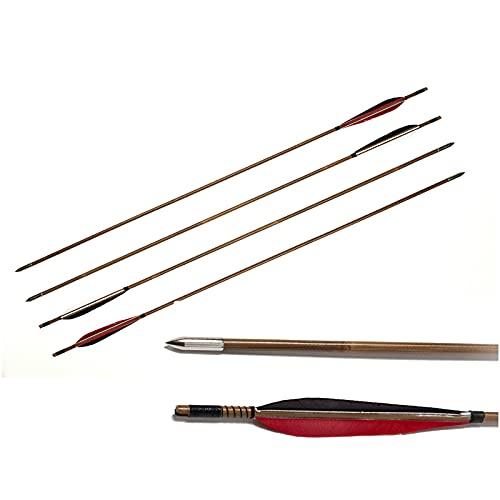 K66KY 4 PCS Tradicional Tiro Arco Hecho a Mano Bambú Pavo Pavo Caza Flechas para recurve Larga Arcos Caza Target Practica