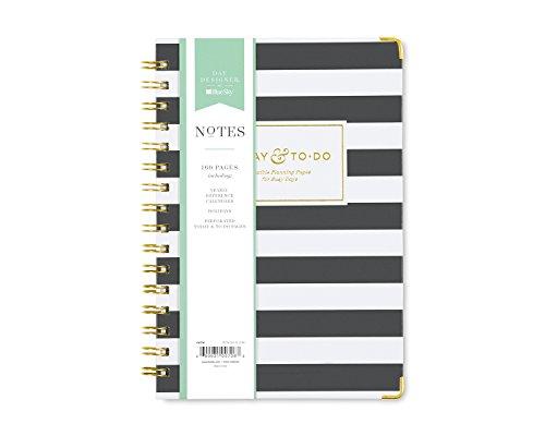 Day Designer for Blue Sky To-Do Notizbuch, 160 linierte Seiten, Doppelspiralbindung, Hardcover, 14,6 x 21,6 cm, schwarze Streifen
