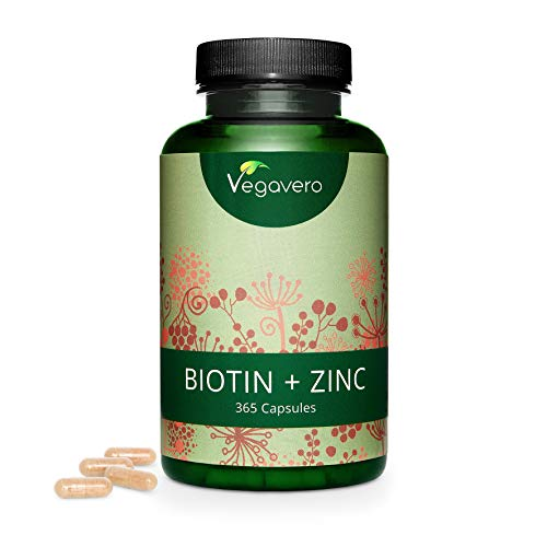 Biotin Vegavero | 365 Capsules | 10000mcg per Dosage | NO Additives | Hair, Skin & Beauty | Enhanced with Zinc | Smaller & Easy to Swallow | Year Supply