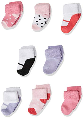 Luvable Friends Unisex Baby Newborn and Baby Terry Socks, Pink Black, 0-6 Months