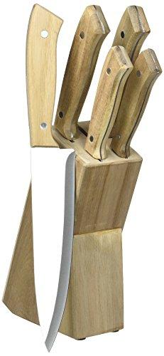 Pradel Excellence - Bloc en Acacia 5 Couteaux de Cuisine - Manches à Rivets + Planche à découper