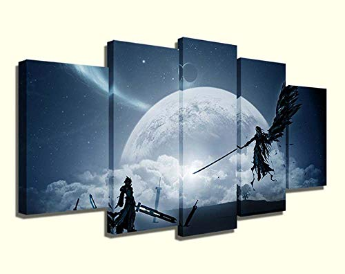 45Tdfc 5 Unidades Pictures Ff7 Luna Estrella Cielo Painting Home Decor Modern Wall Art Canvas HD Prints Frame Modular Poster