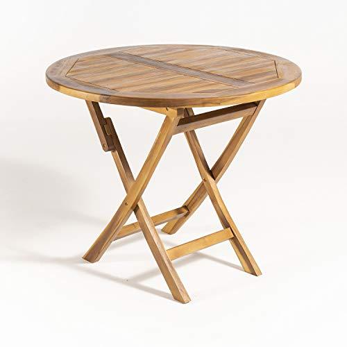 Mesa de jardín Teca Redonda de 90 cm, Madera Teca Grado A, Tamaño: 90x76 cm, Tratamiento al Agua aplicado