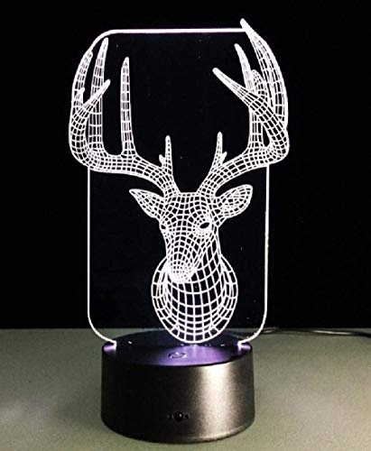 Luz de noche 3D Luz de sueño LED Luz de ilusión 3D Luz de noche de control remoto Luz de arte de primer plano de cabeza de ciervo 3D