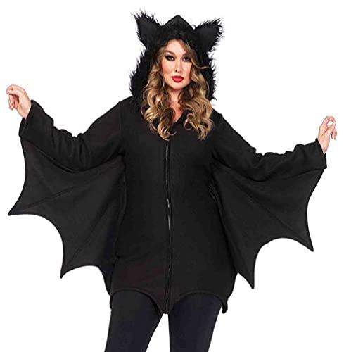 Leg Avenue Plus Size Cozy Bat Hooded Fleece Dress-Cute Winged Halloween Costume for Women, Black, 3X / 4X