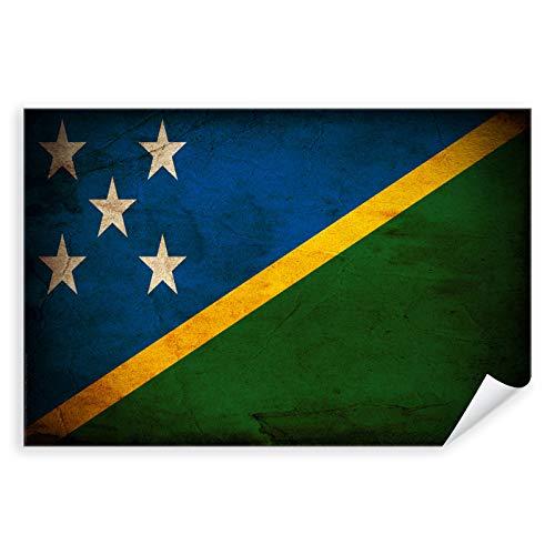 Postereck - 0386 - Vintage Flagge, Fahne Salomonen Honiara - Unterricht Klassenzimmer Schule Wandposter Fotoposter Bilder Wandbild Wandbilder - Poster mit Rahmen - 29,0 cm x 19,0 cm