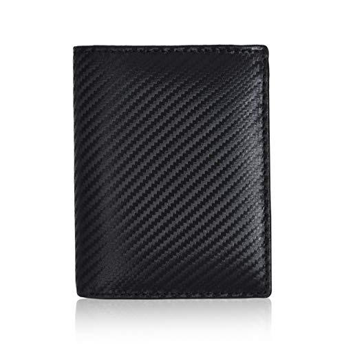 Amazon Brand - Eono - Cartera de Cuero para Mujer y Hombre con diseño Plano y protección contra Lectura RFID (Negro Carbon)