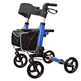 KarePro Lightweight Compact Designed Folding Rollator Walker with 8 inches Wheels Wide Seat Thick Backrest and Adjustable Handle Height, Blue