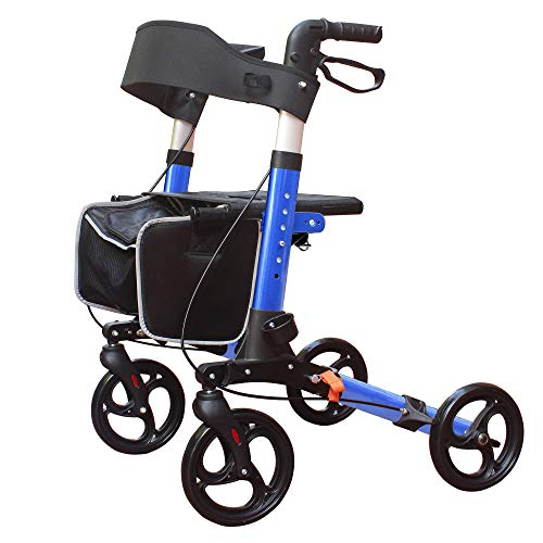 KarePro Lightweight Compact Designed Folding Rollator Walker with 8 inches Wheels Wide Seat Thick Backrest and Adjustable Handle Height Blue