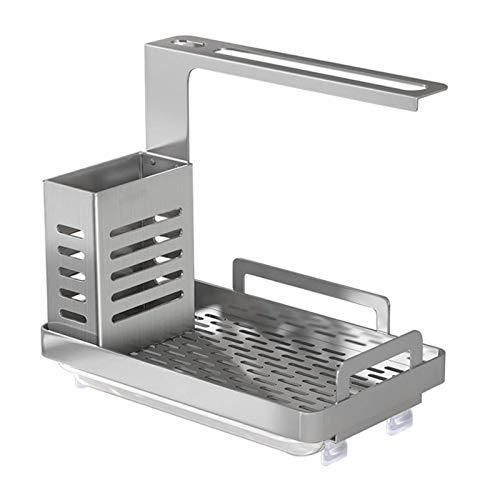 RDJSHOP Organizador de fregadero, esponja para fregadero, cepillo de jabón, soporte para paños de cocina con bandeja de drenaje de acero inoxidable 304, color negro