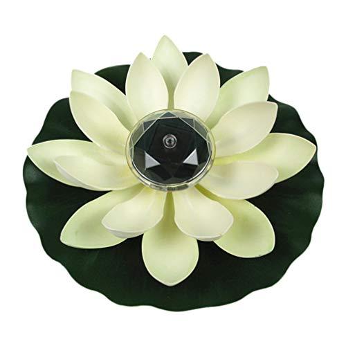 OSALADI LED Lotus Laterne Solar Schwimmende Lotusblüte Künstliche Lotusblume Stimmungslichter Garten Terrasse Aquarium Pool Schwimmbad Fluss Party Festival Dekoration Weiß