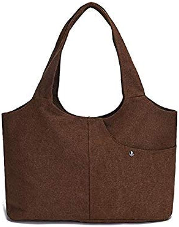 Bloomerang Ocardian Summer Vintage Women Pure color Casual Tote Bag Canvas Handbag Shoulder Bag Dropshipping May 22 color Coffee