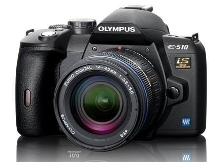 Olympus E-510 SLR-Digitalkamera (10 Megapixel, LifeView, Bildstabilisator) Double Zoom Kit inkl. EZ1442 und EZ4015-2