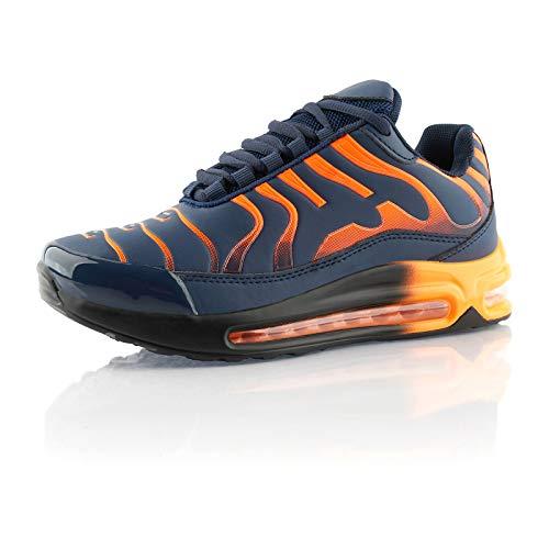 Fusskleidung® Damen Herren Sportschuhe Dämpfung Sneaker leichte Laufschuhe Dunkelblau Orange EU 42